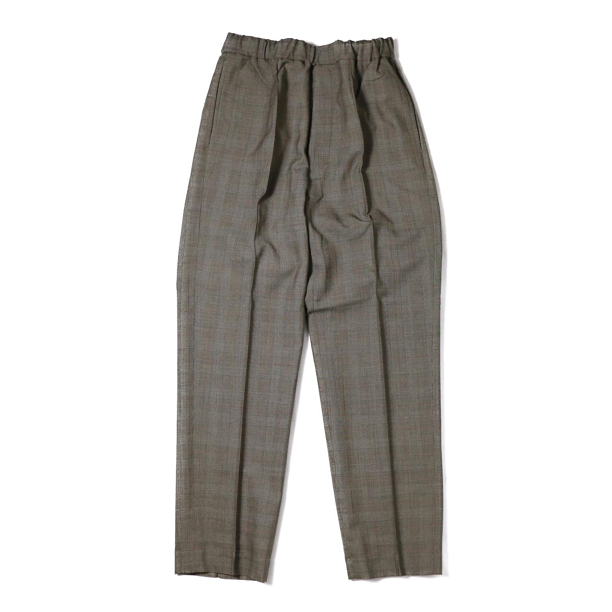 Kaptain Sunshine / Crease Tucked Easy Pants -Brown Glen Plaid