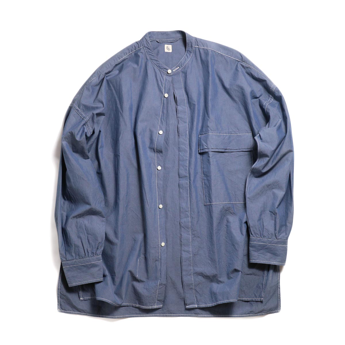 Kaptain Sunshine / Fly Front Band Collar Shirt -Blue Gray