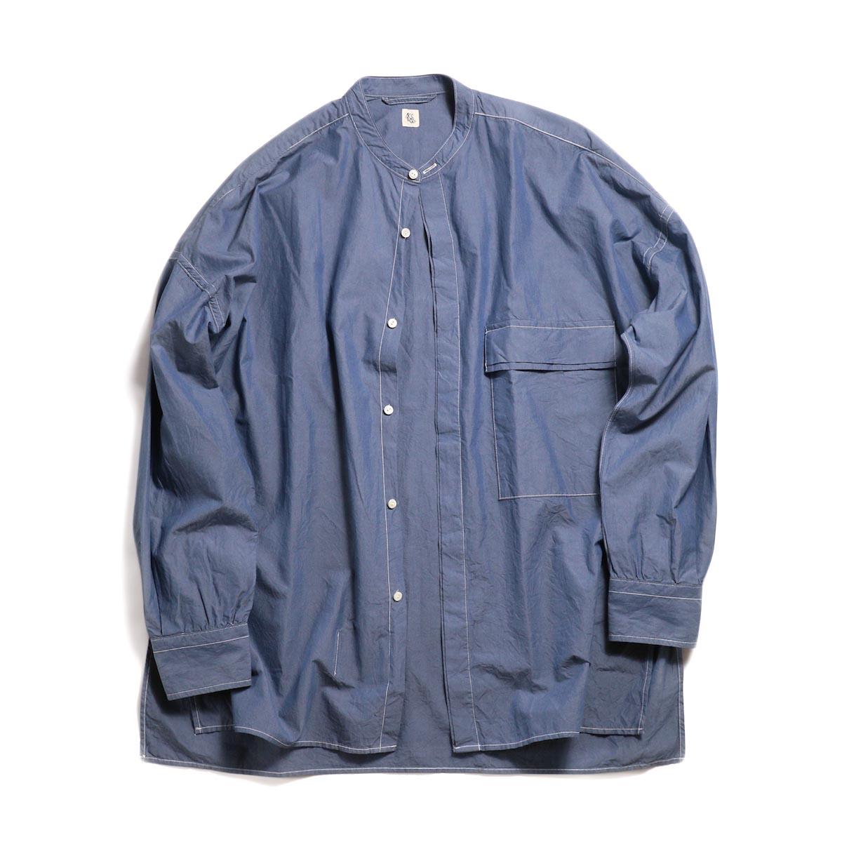 Kaptain Sunshine / Fly Front Band Collar Shirt -Blue Gray