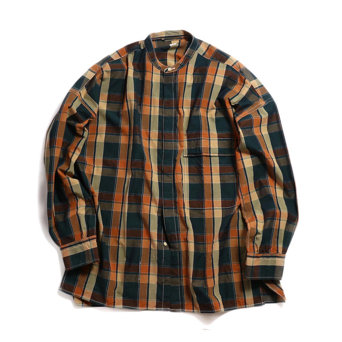 Kaptain Sunshine / Fly Front Band Collar Shirt -Brown Check