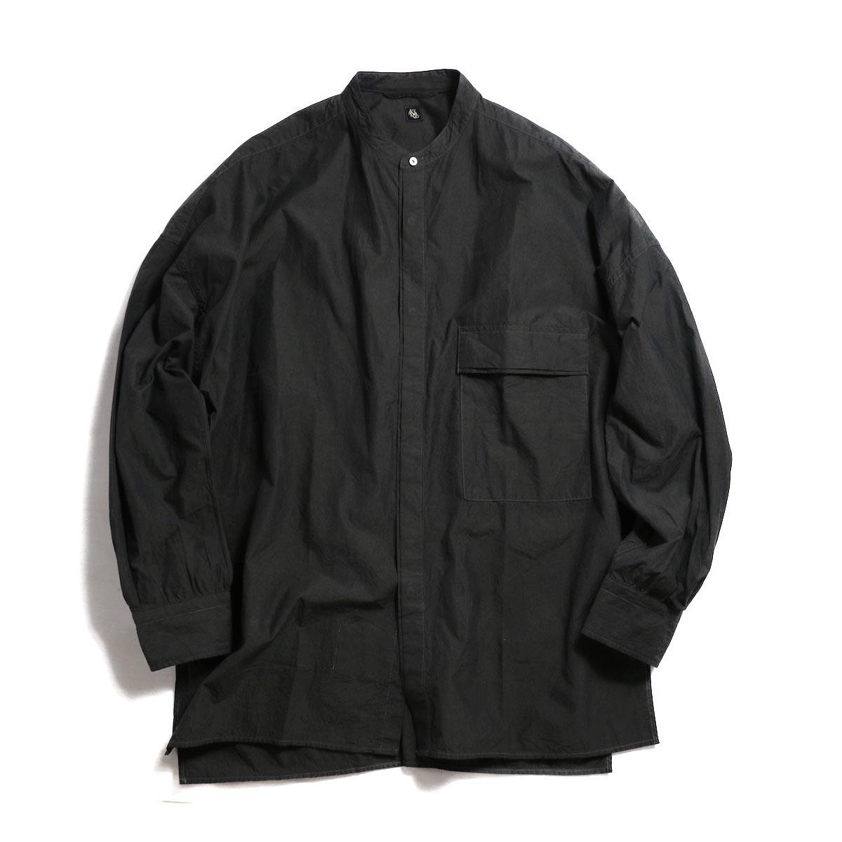 Kaptain Sunshine / Fly Front Band Collar Shirt -Charcoal Gray