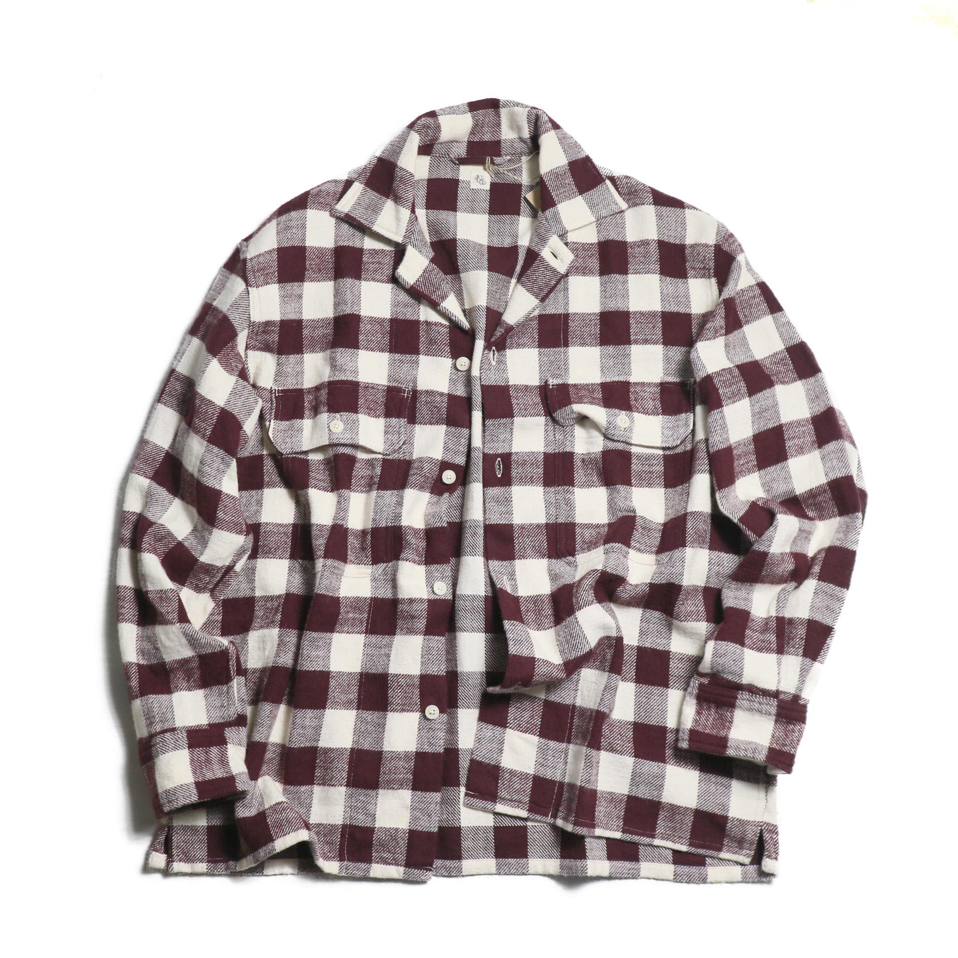 Kaptain Sunshine / Open Collar Shirt -BURGUNDY