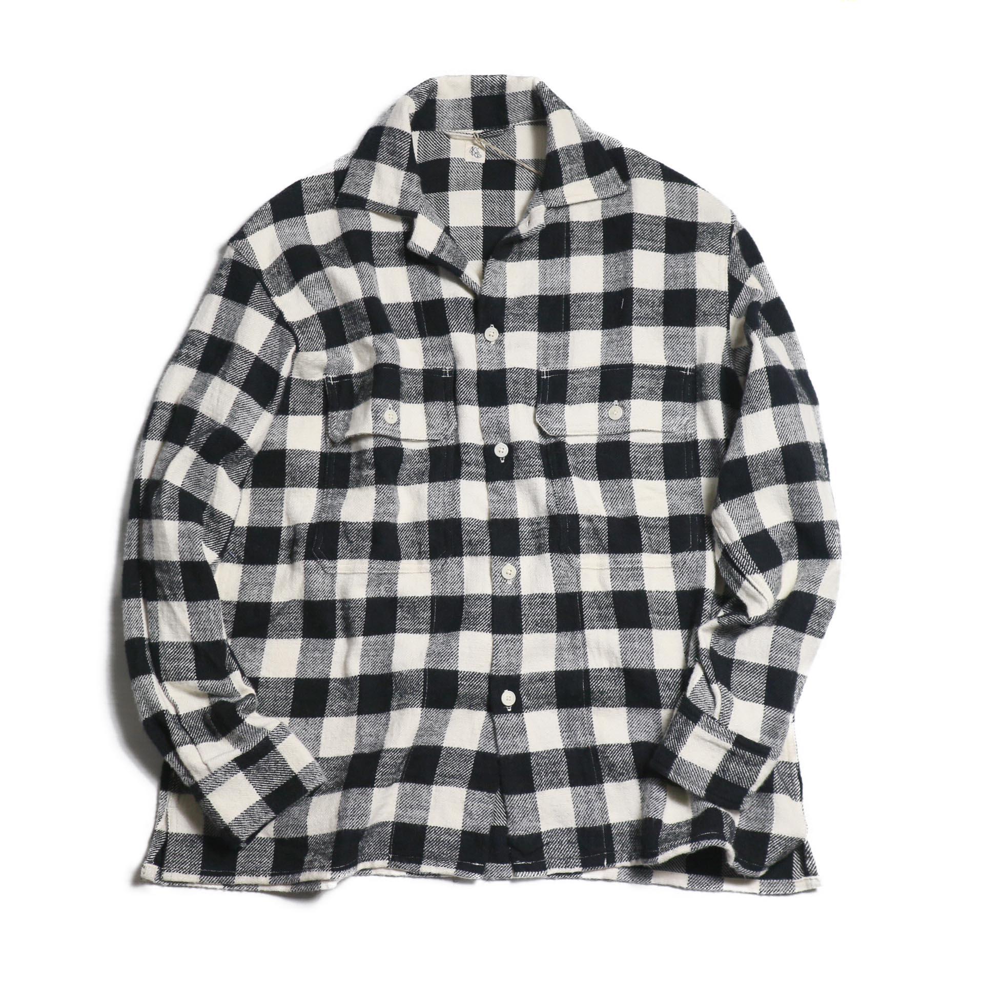 Kaptain Sunshine / Open Collar Shirt -BLACK