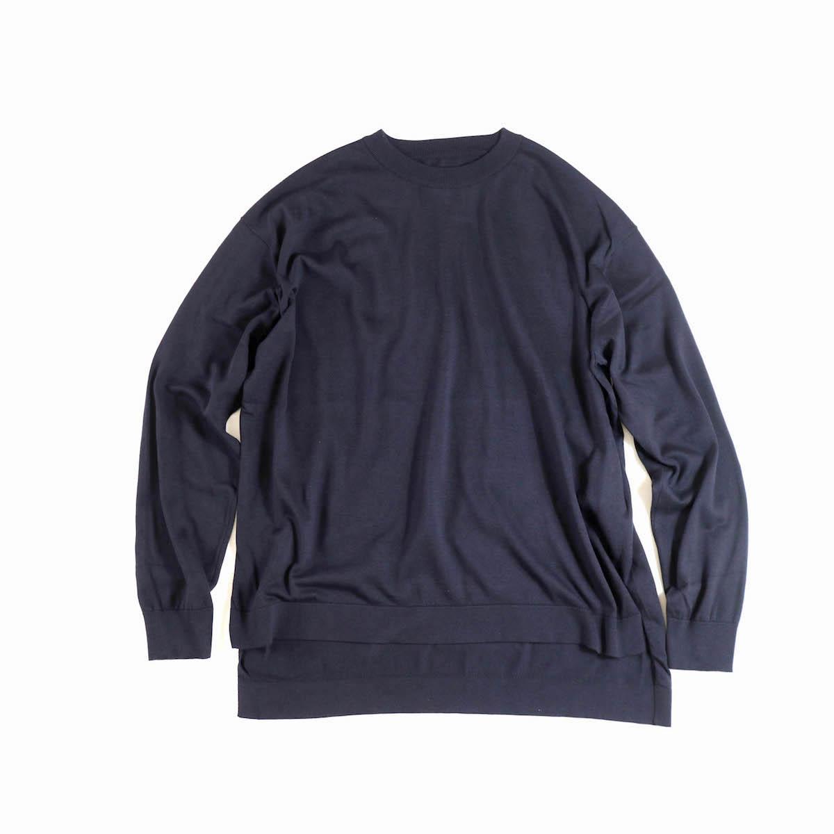 KAPTAIN SUNSHINE / Crewneck Long Sleeved Puollover Knit -Navy