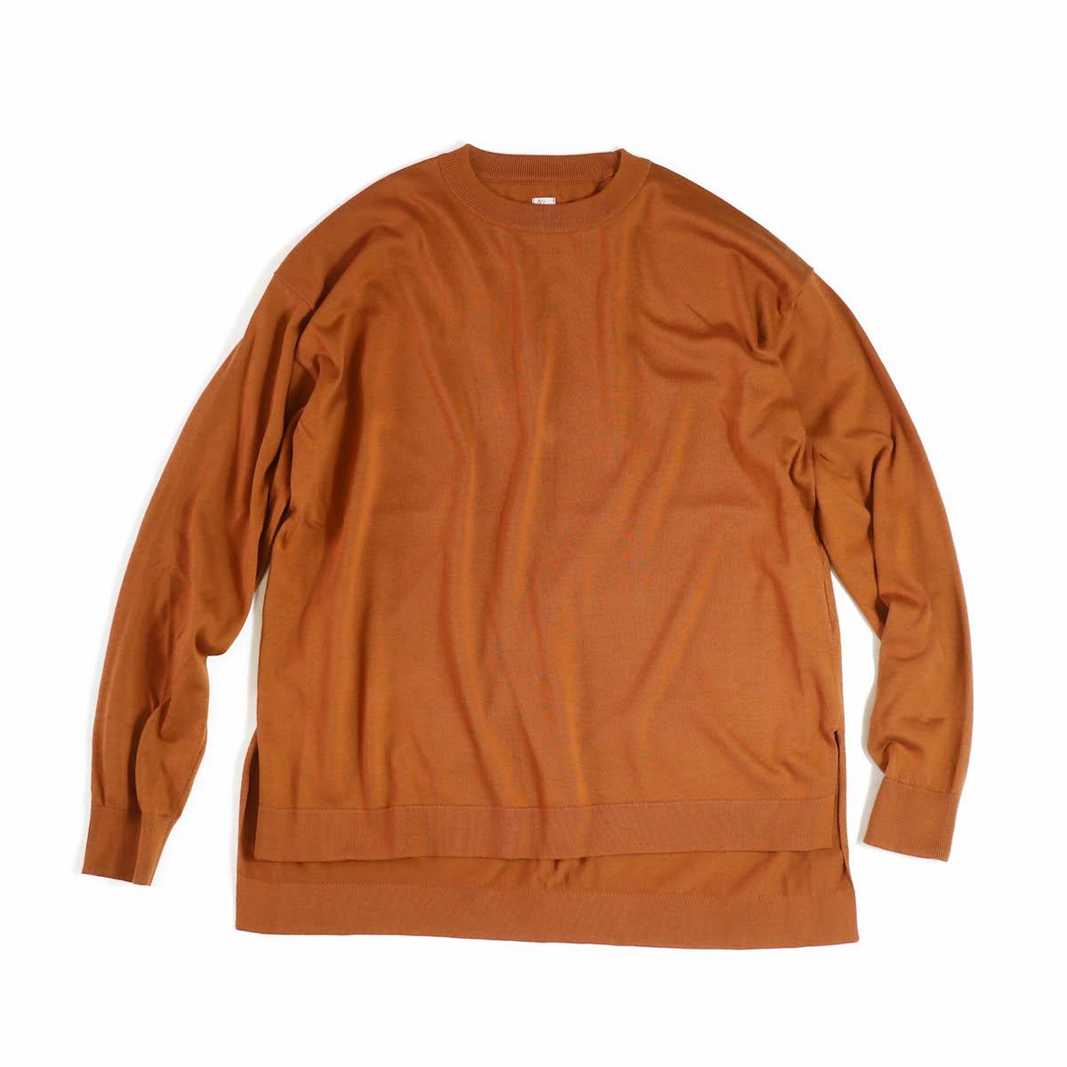 KAPTAIN SUNSHINE / Crewneck Long Sleeved Puollover Knit -OrangeBrown