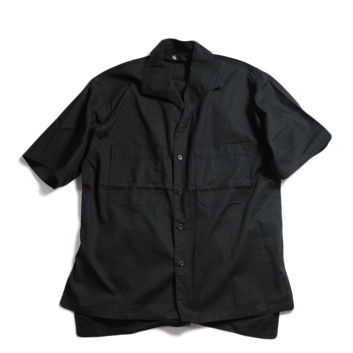 Kaptain Sunshine / Italian Collar Safari Shirt -Black