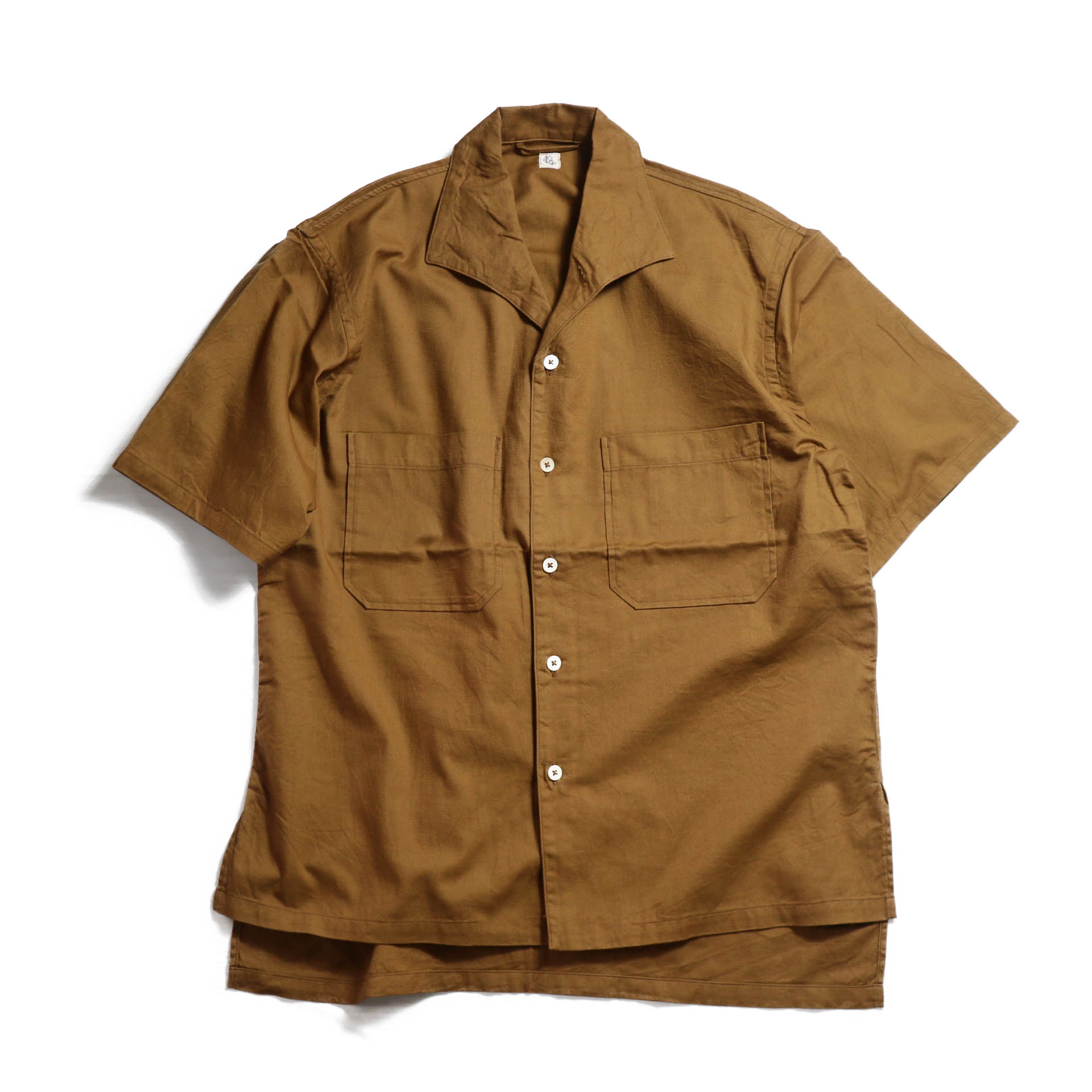 Kaptain Sunshine / Italian Collar Safari Shirt -BROWN