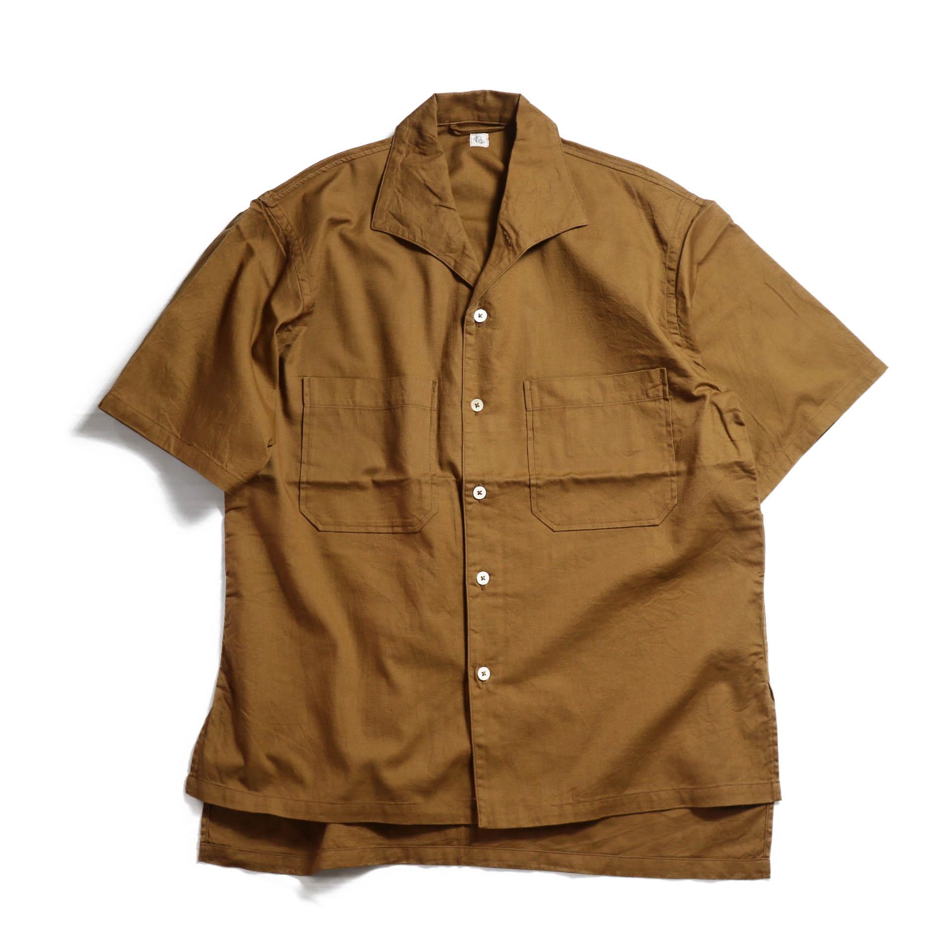 Kaptain Sunshine / Italian Collar Safari Shirt -BROWN