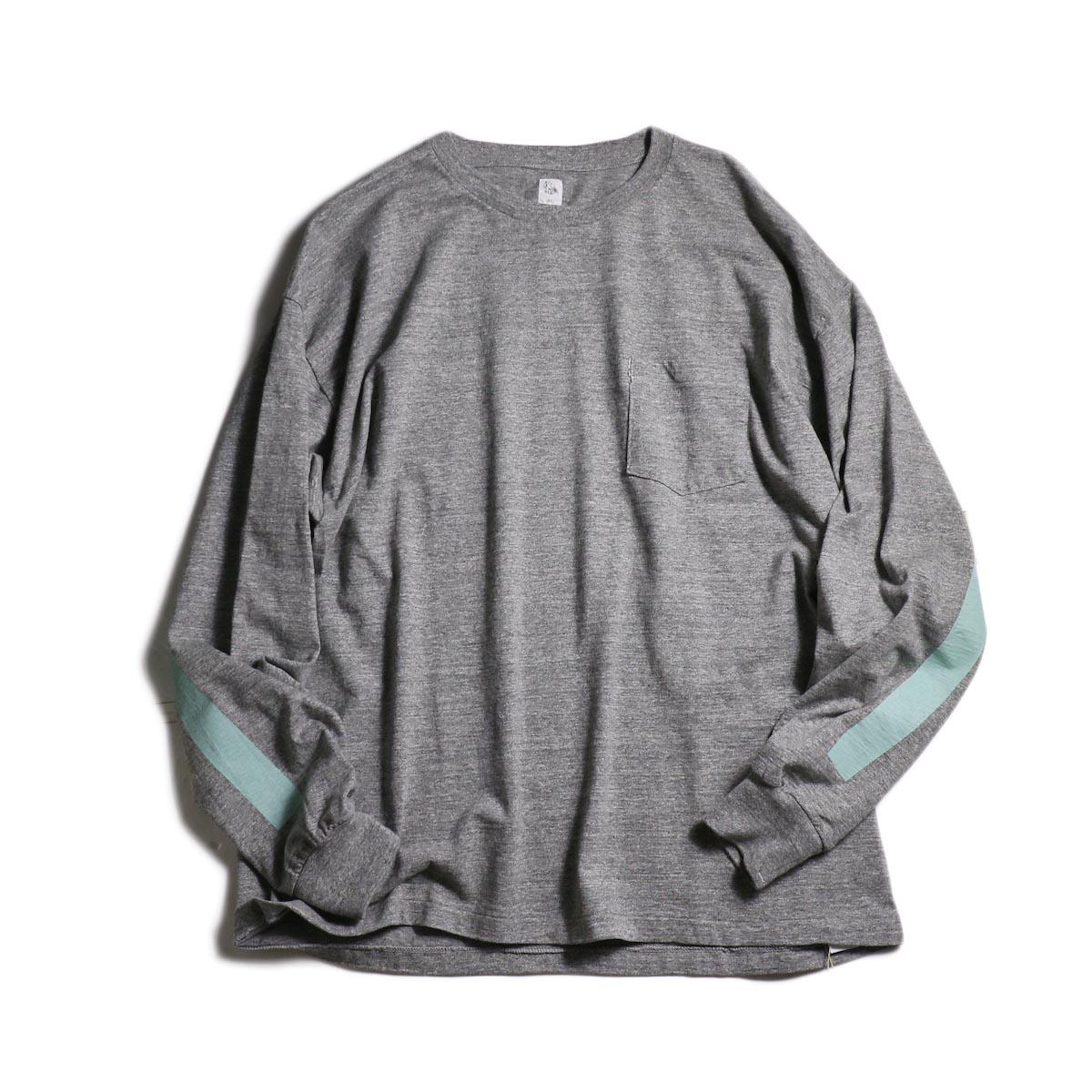 Kaptain Sunshine / West Coast Long Sleeve Tee (Feather Gray×Mint Green Line)