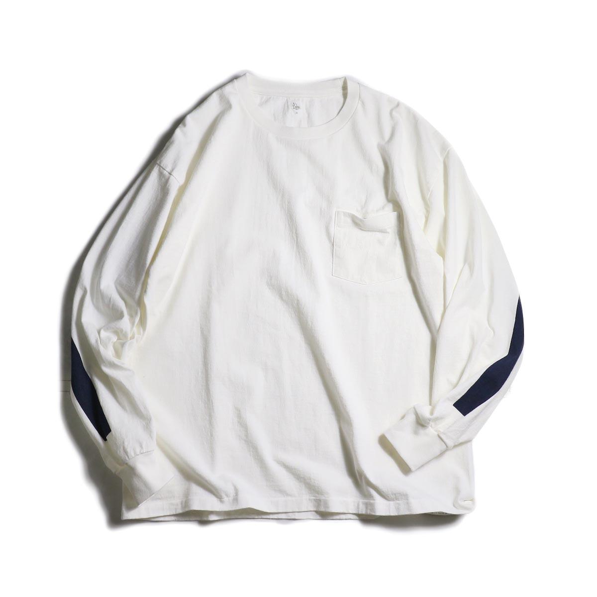 Kaptain Sunshine / West Coast Long Sleeve Tee (White×Navy Line)
