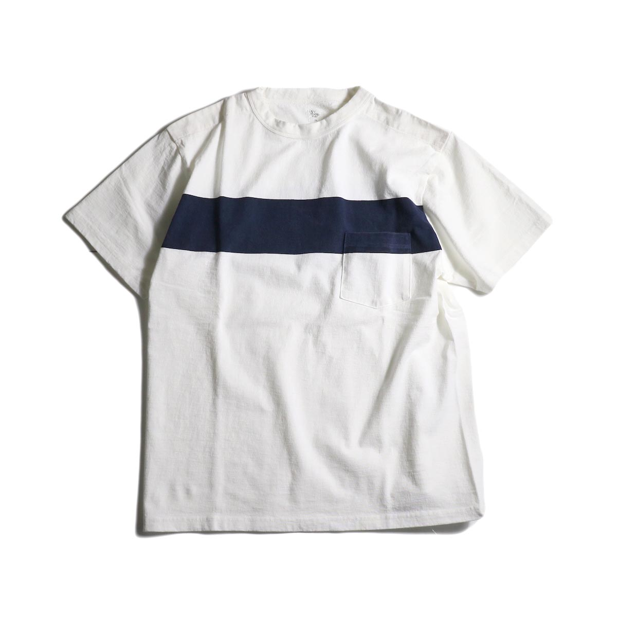 Kaptain Sunshine / West Coast Tee (White × Navy Line)