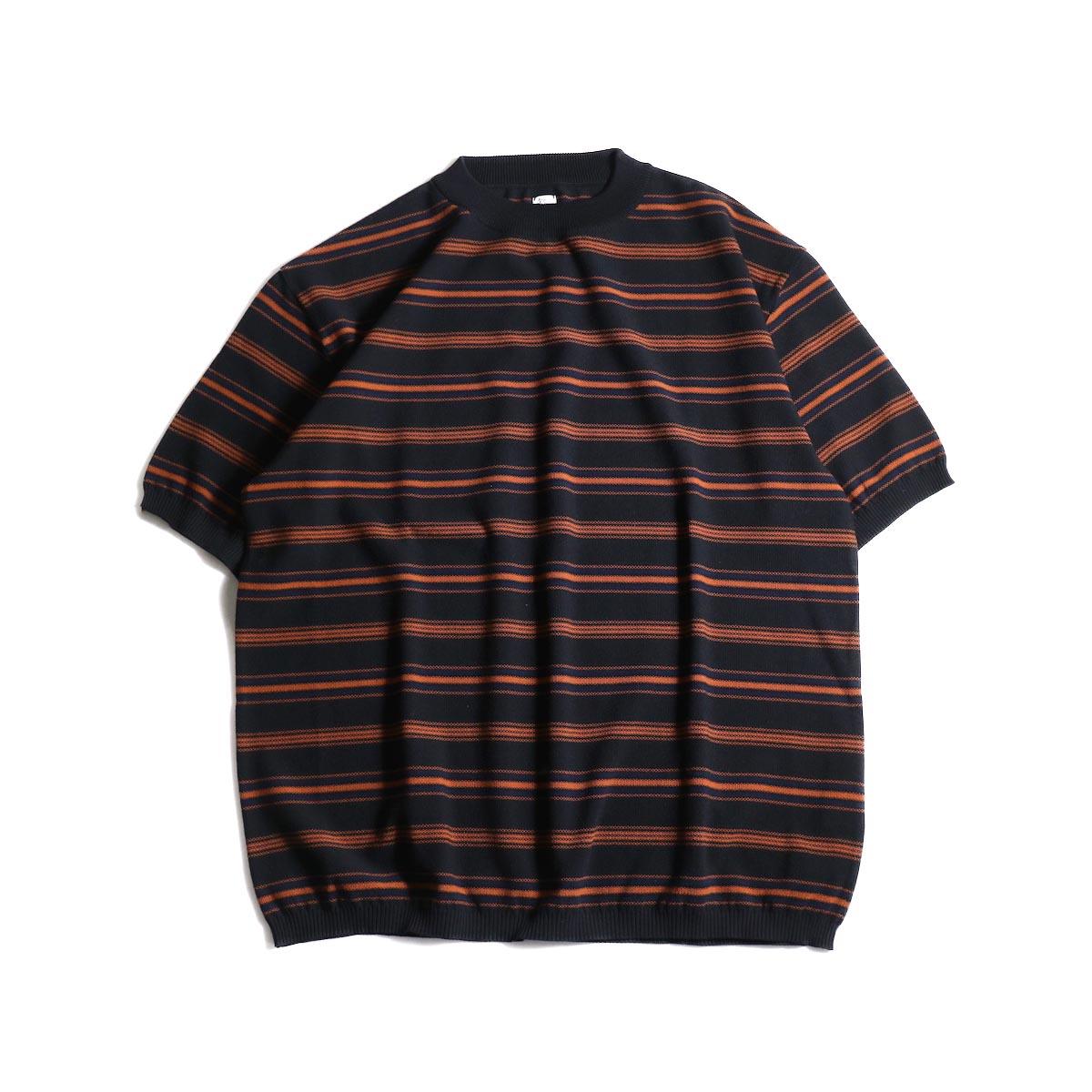 Kaptain Sunshine / Crewneck Knit Border Tee (Black Multi Border)