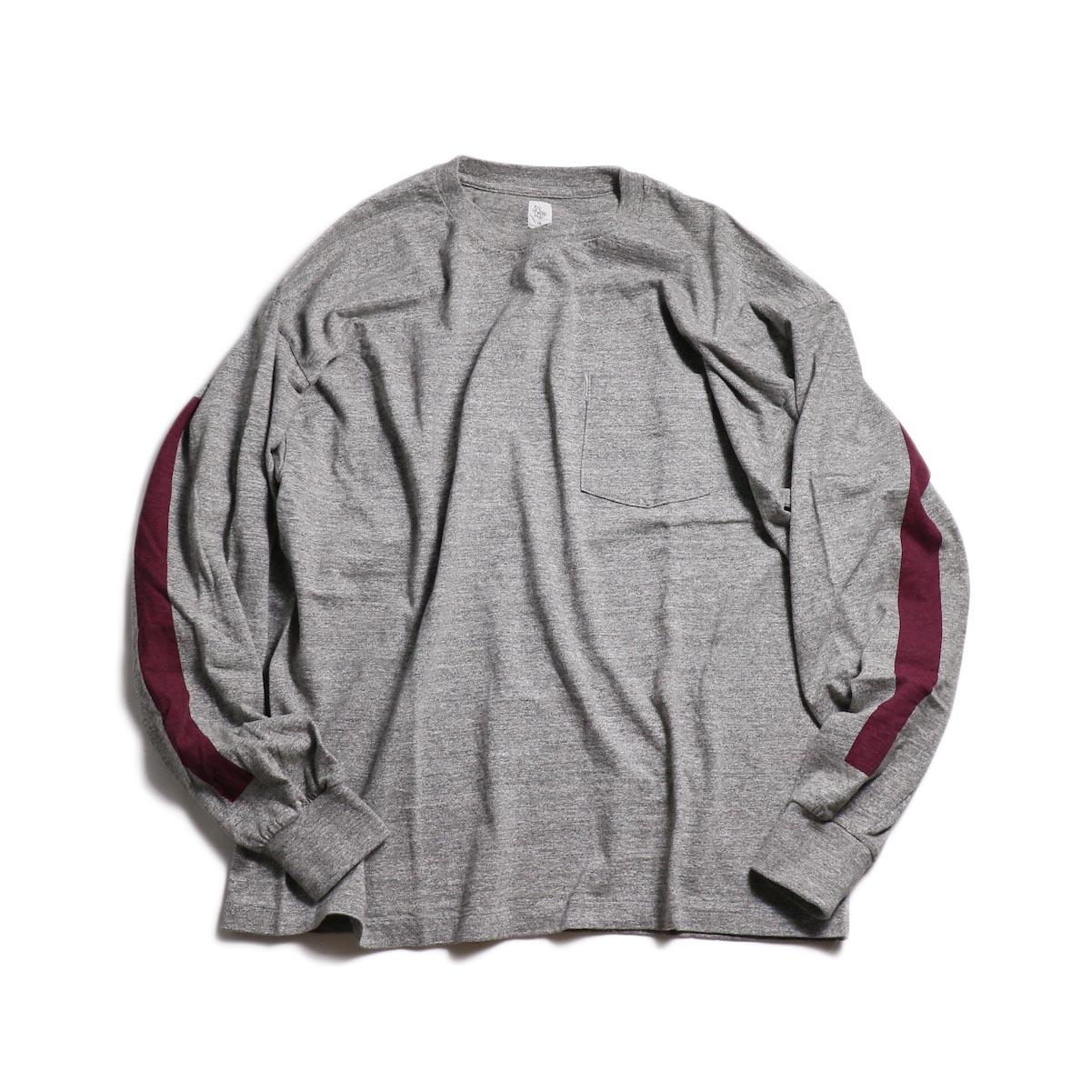 Kaptain Sunshine / West Coast L/S Tee -Feather Grey × Burgundy Line 正面