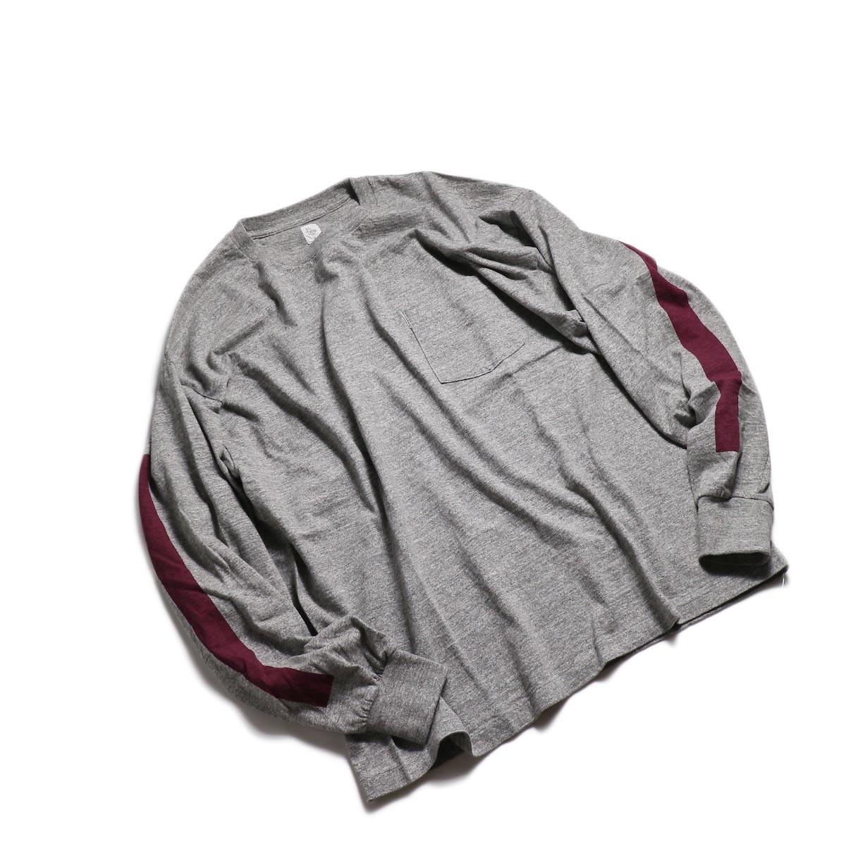 Kaptain Sunshine / West Coast L/S Tee -Feather Grey × Burgundy Line 全体