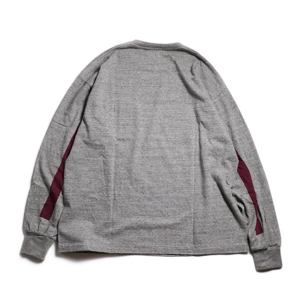 Kaptain Sunshine / West Coast L/S Tee -Feather Grey × Burgundy Line 背面