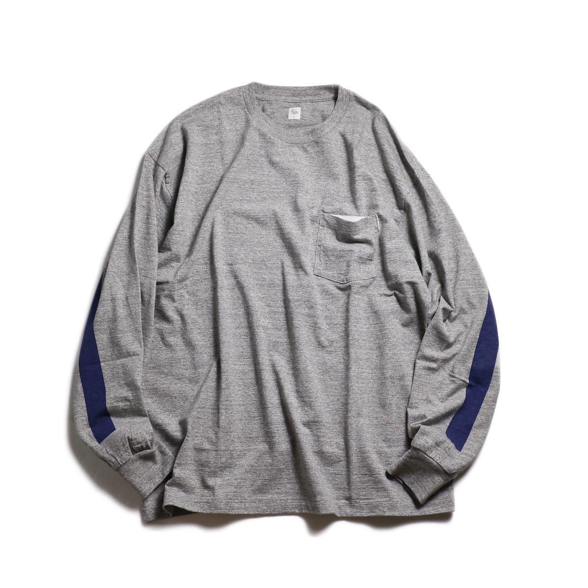 Kaptain Sunshine / West Coast L/S Tee -Feather Grey × Navy Line