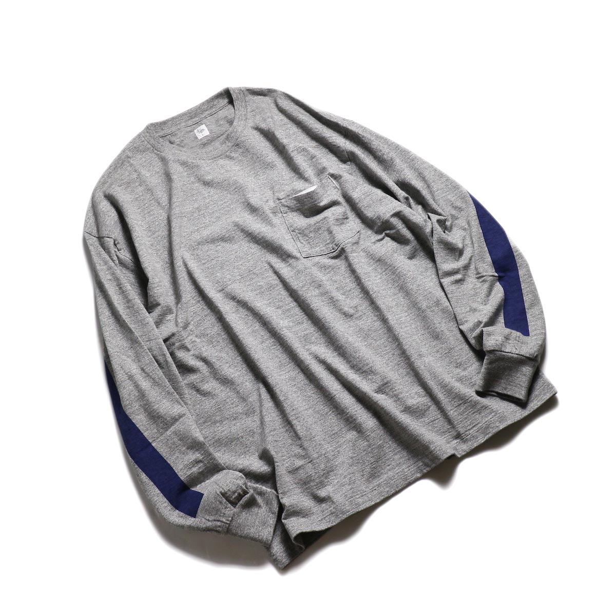Kaptain Sunshine / West Coast L/S Tee -Feather Grey × Navy Line 全体
