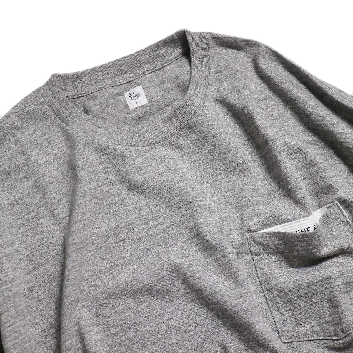 Kaptain Sunshine / West Coast L/S Tee -Feather Grey × Navy Line 襟