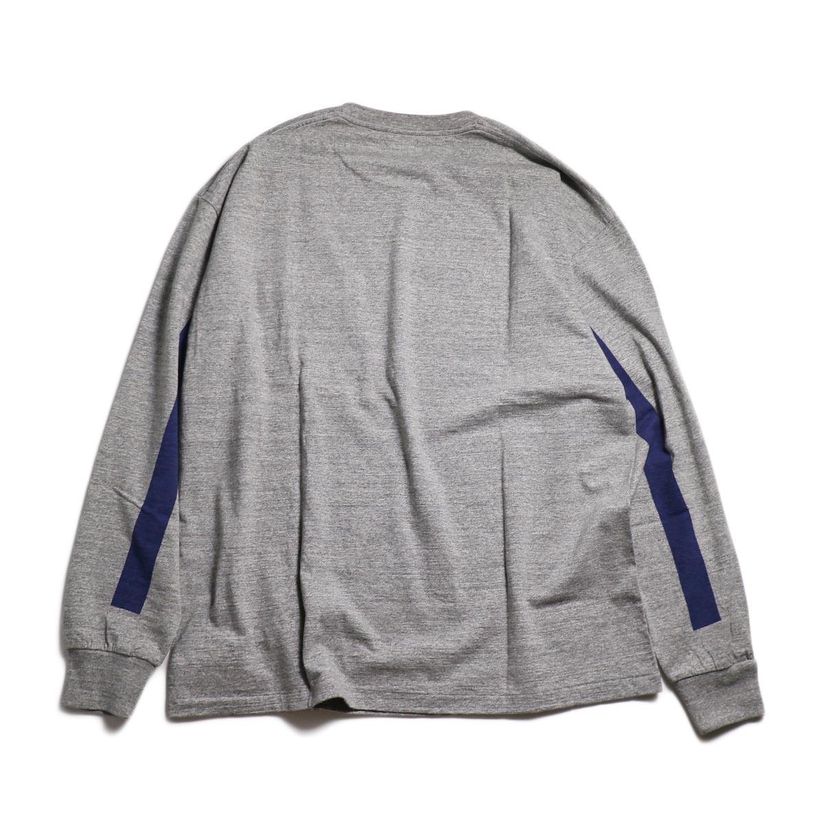Kaptain Sunshine / West Coast L/S Tee -Feather Grey × Navy Line 背面