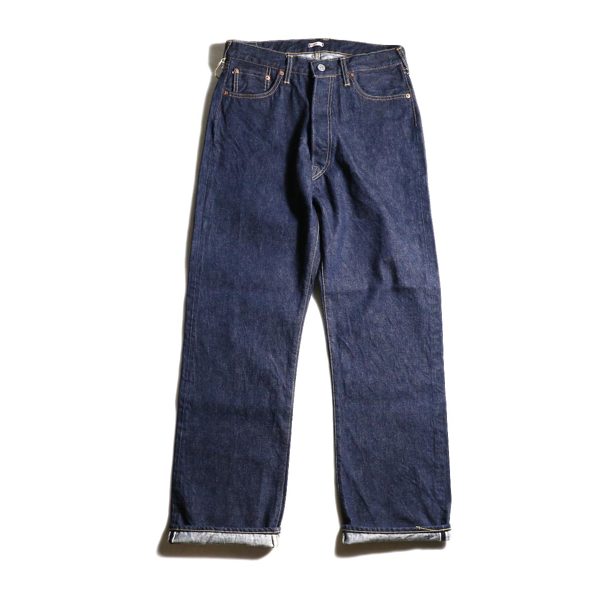 Kaptain Sunshine / Baggy Cut Straight Denim Pants -One Wash