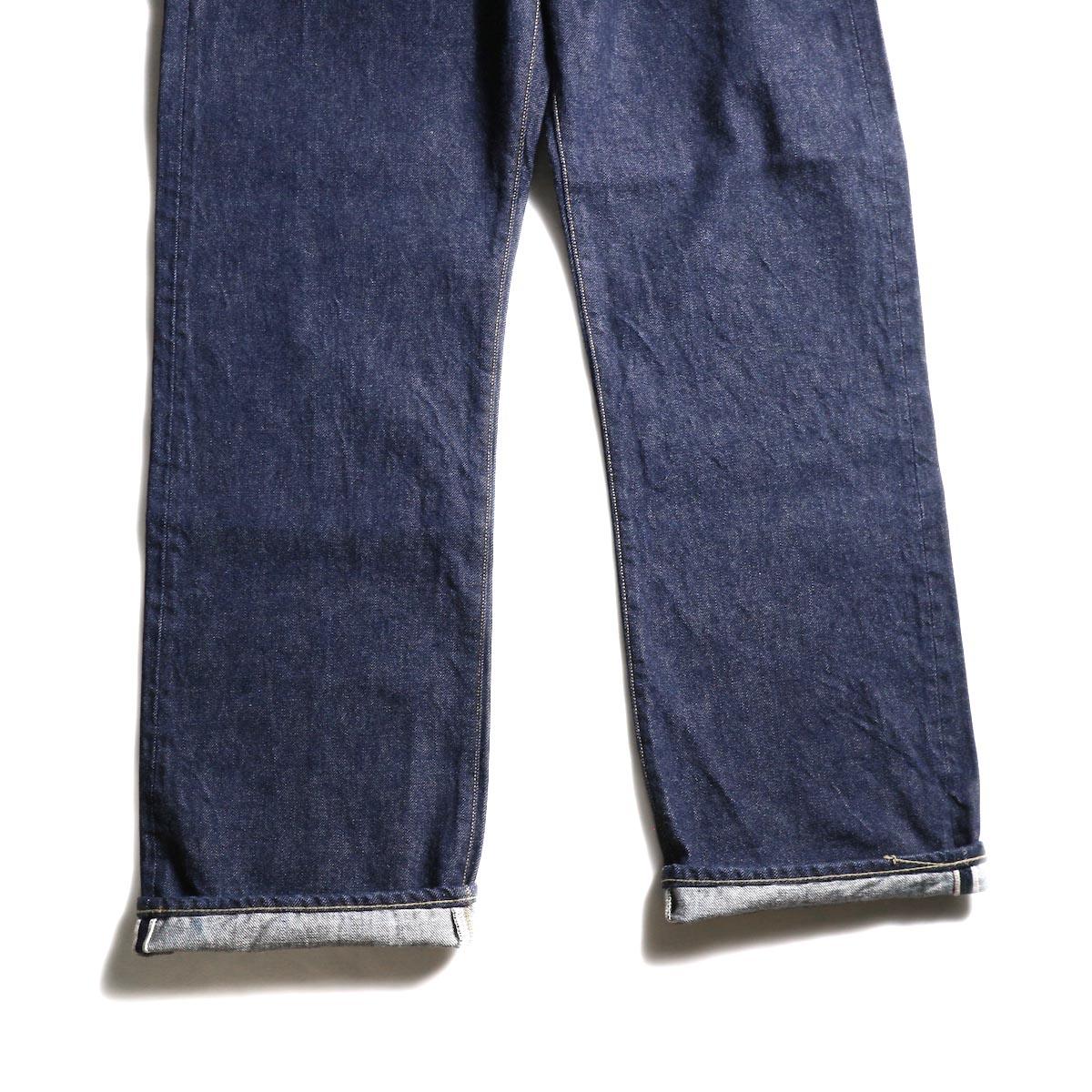 Kaptain Sunshine / Baggy Cut Straight Denim Pants -One Wash 裾