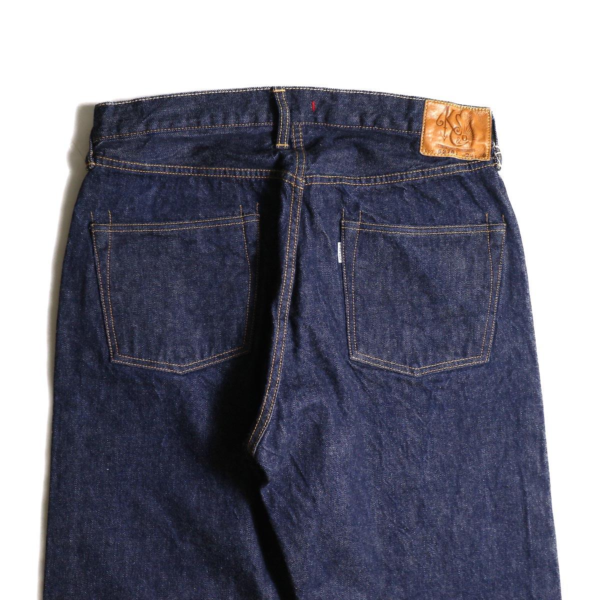 Kaptain Sunshine / Baggy Cut Straight Denim Pants -One Wash バックポケット