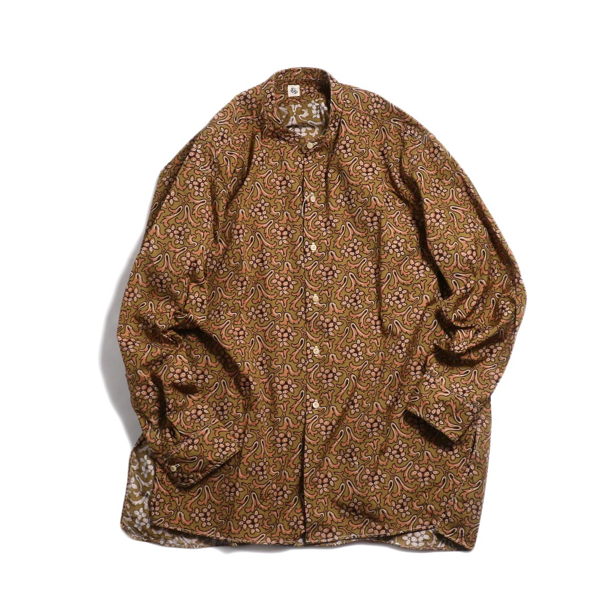 Kaptain Sunshine / Band Collar Shirt -Sand Beige