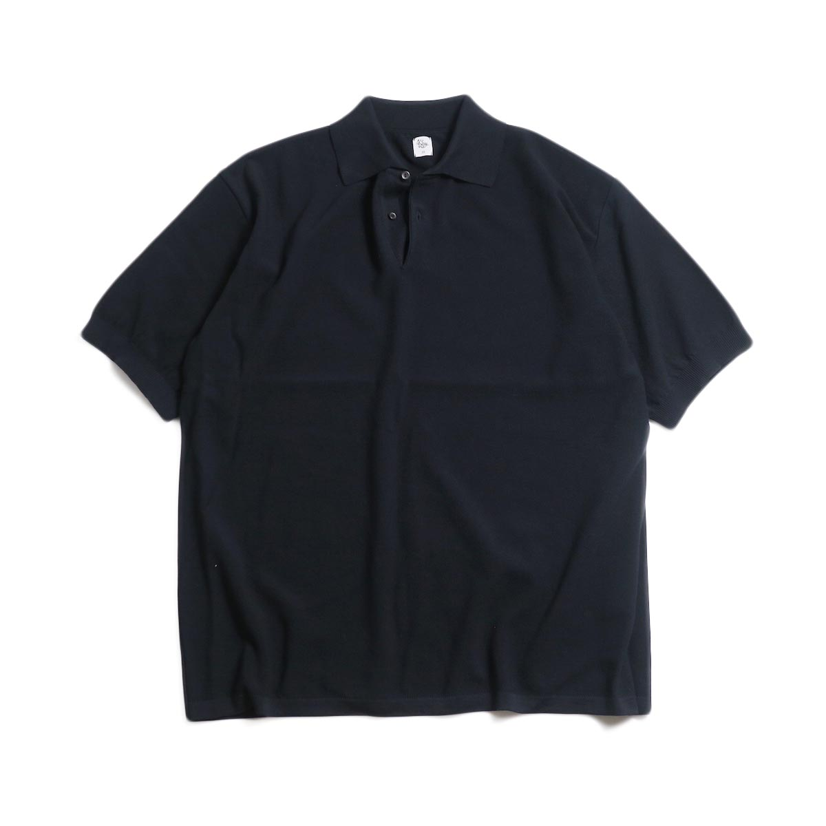Kaptain Sunshine / Polo Collar Knit Shirt -Black Solid