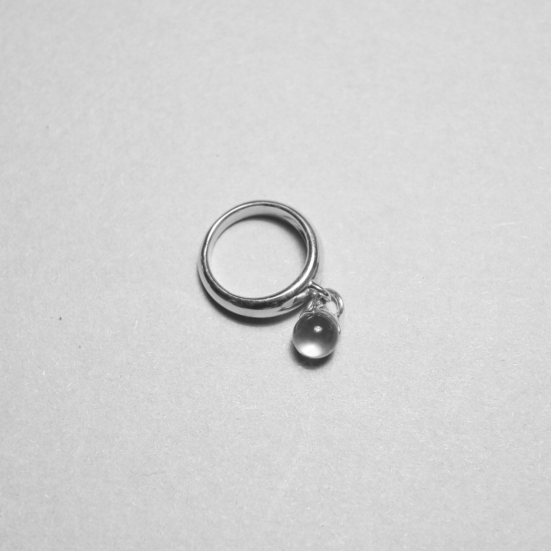LAN / glass × silver sway ring ①