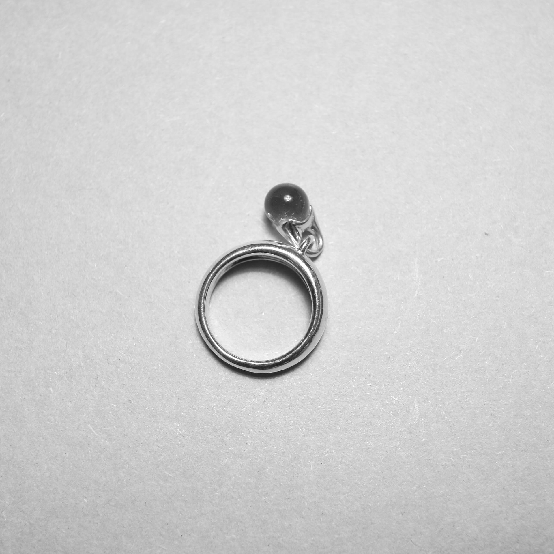 LAN / glass × silver sway ring ②