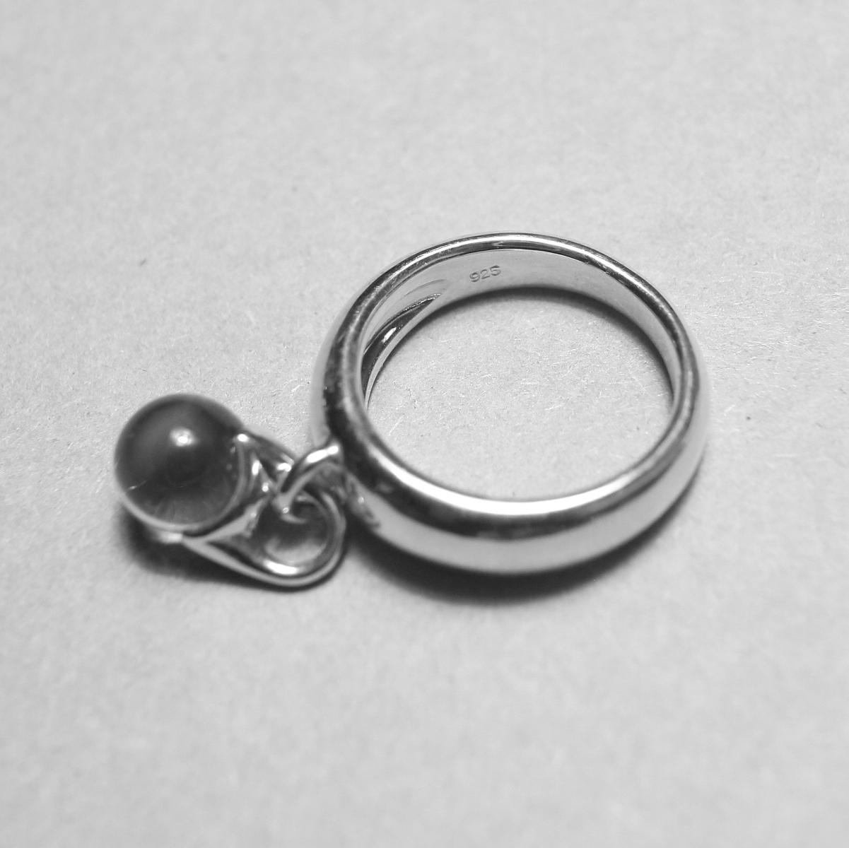 LAN / glass × silver sway ring シルバー925内側刻印
