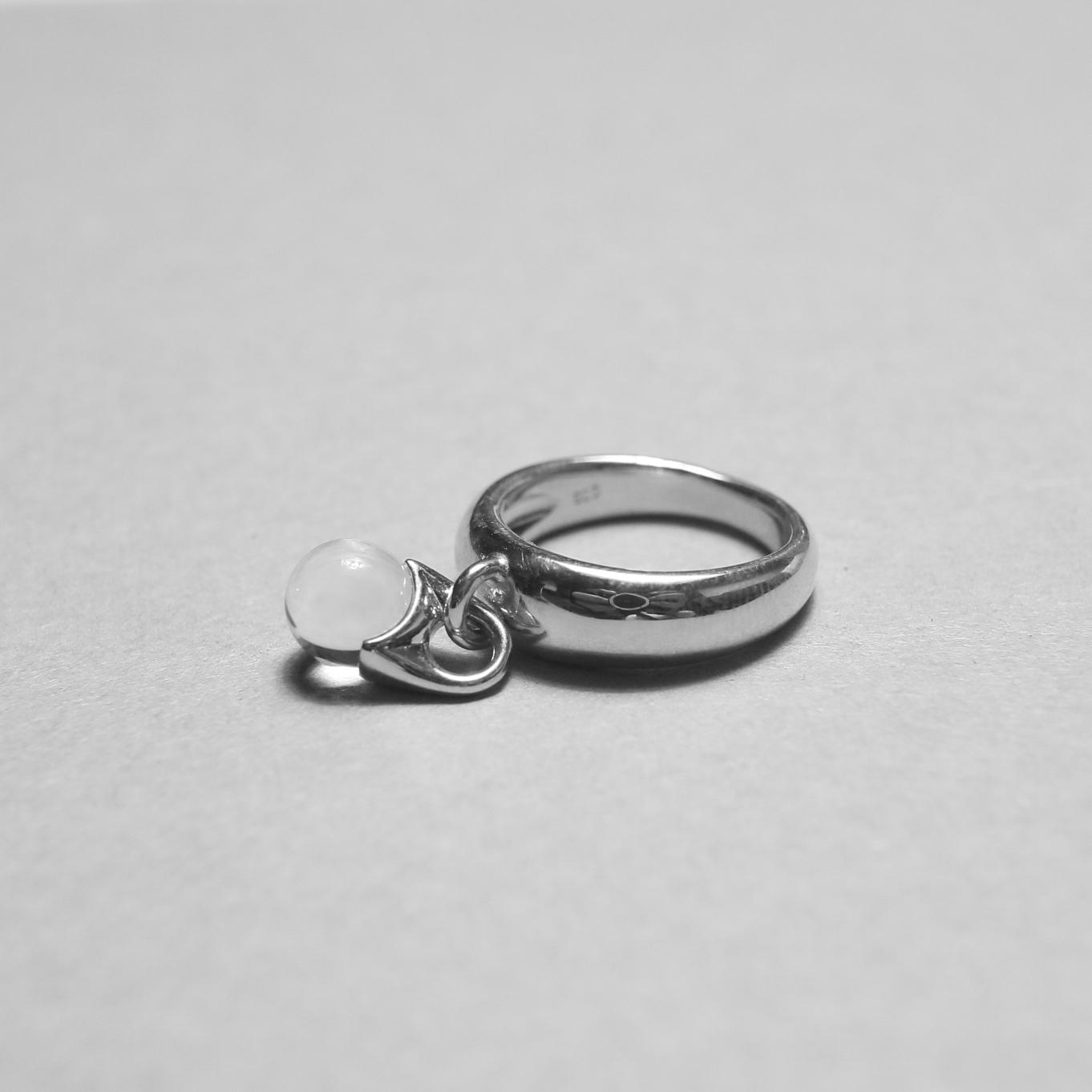 LAN / glass × silver sway ring ④