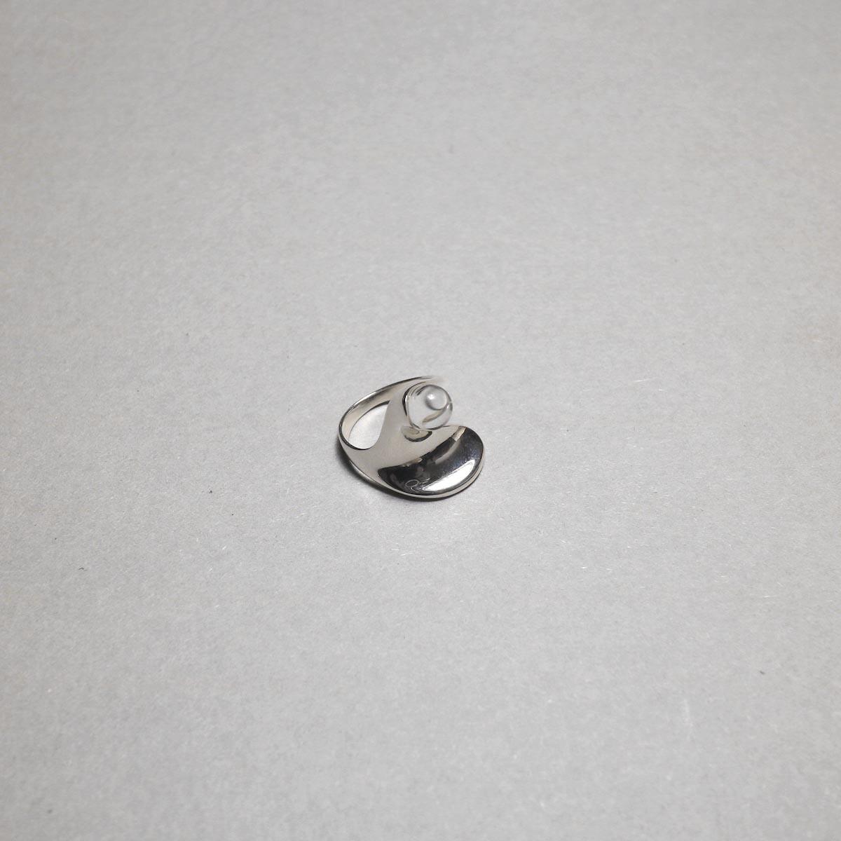 LAN / glass × silver wave ring ②