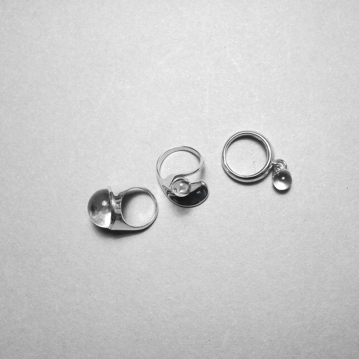 LAN / glass × silver wave ring 比較