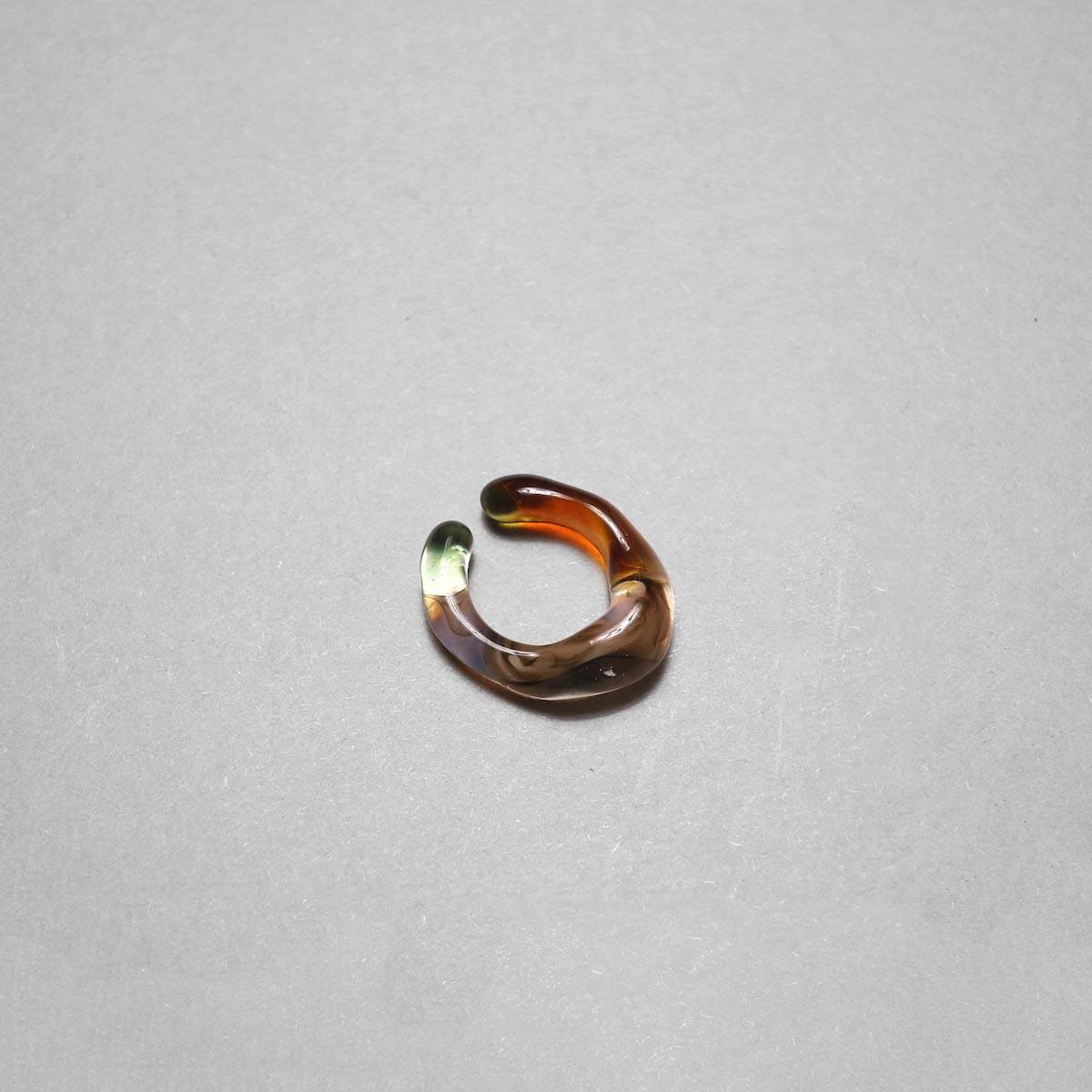 LAN / glass ear cuff & ring marble (A) ②