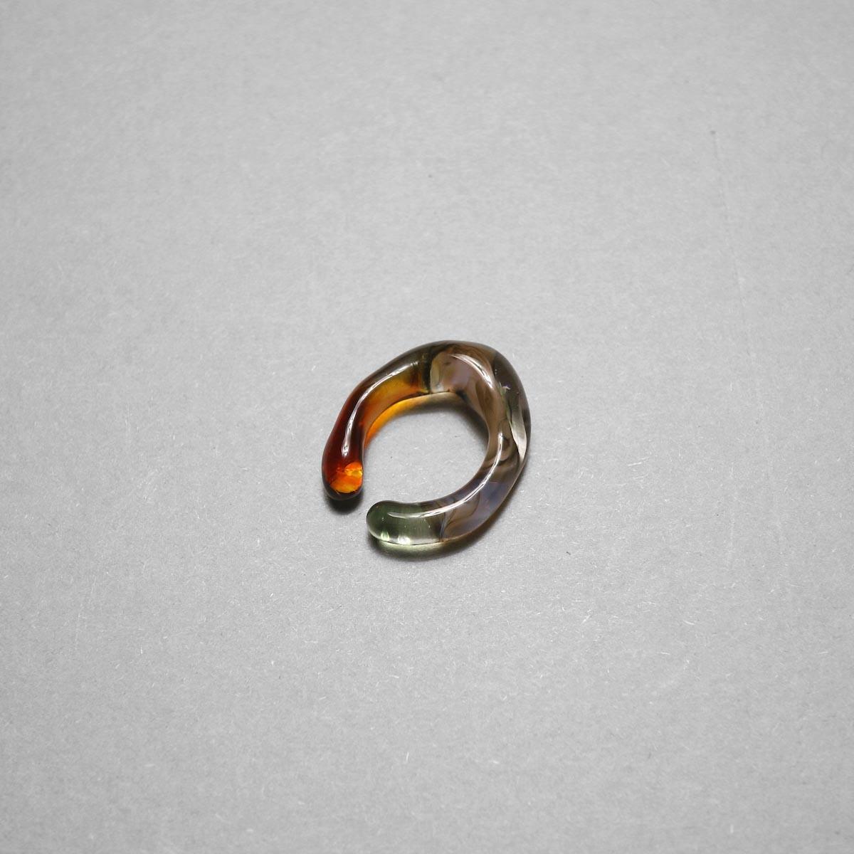 LAN / glass ear cuff & ring marble (A)