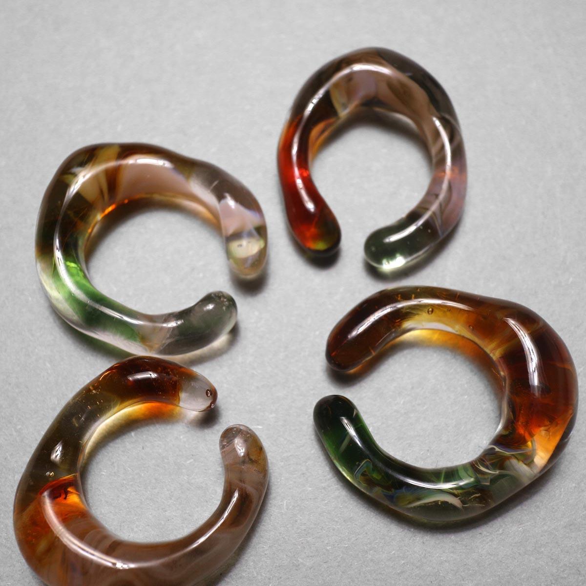 LAN / glass ear cuff & ring marble (B) 比較③