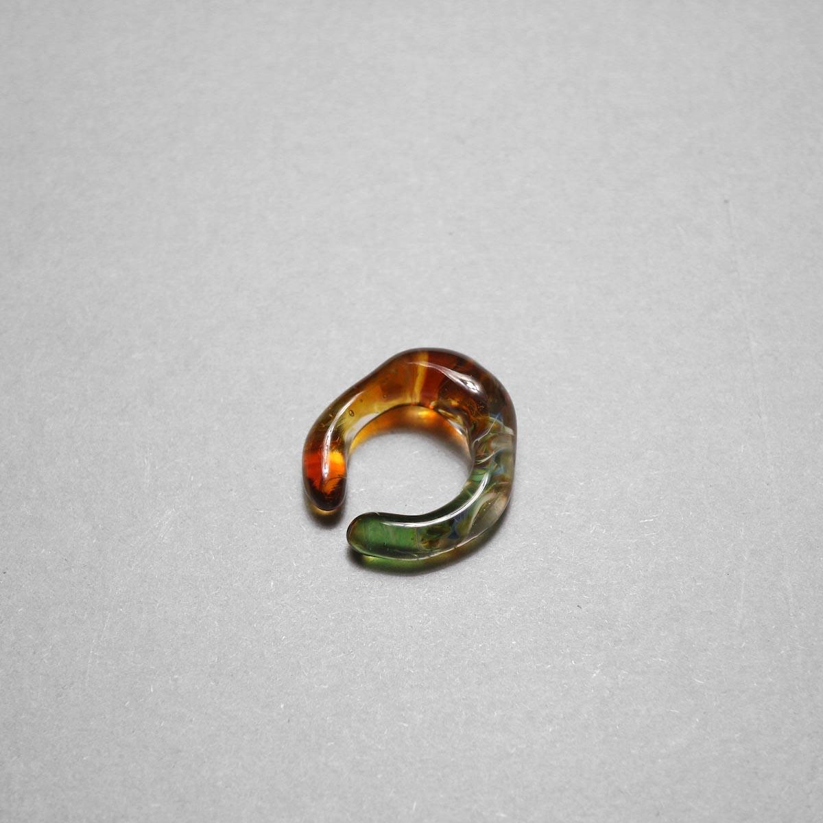 LAN / glass ear cuff & ring marble (B)