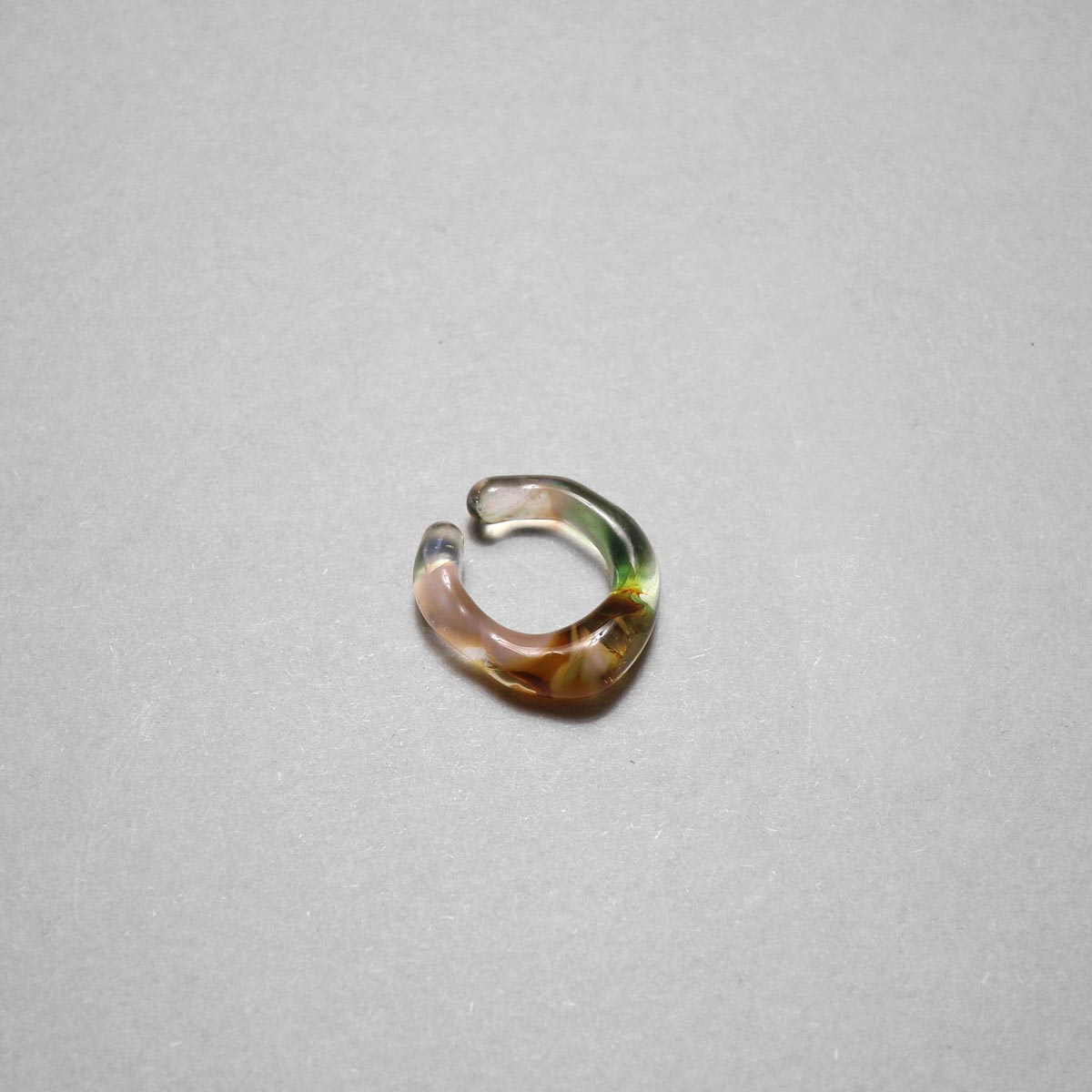 LAN / glass ear cuff & ring marble (C) ②