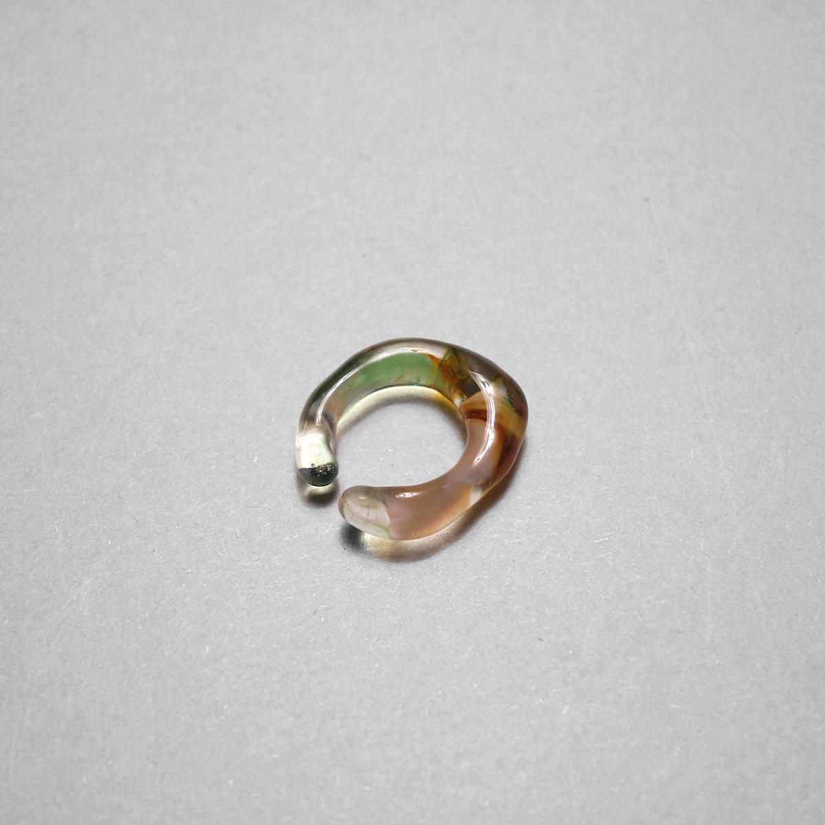 LAN / glass ear cuff & ring marble (C) ①