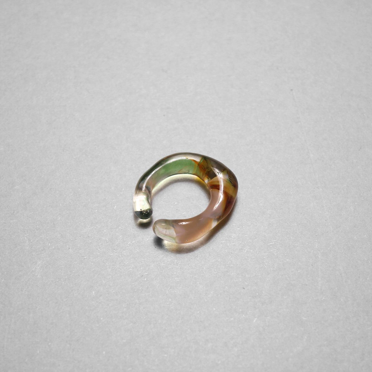 LAN / glass ear cuff & ring marble (C)
