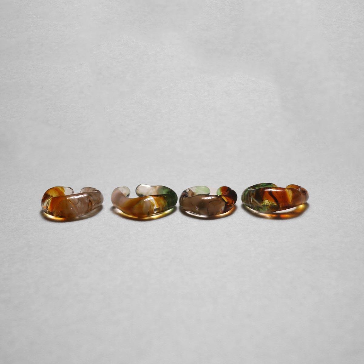 LAN / glass ear cuff & ring marble  比較①
