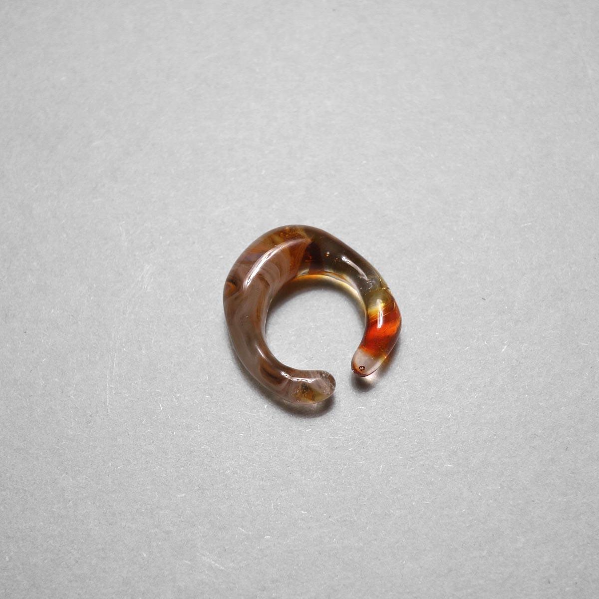 LAN / glass ear cuff & ring marble (D) ①
