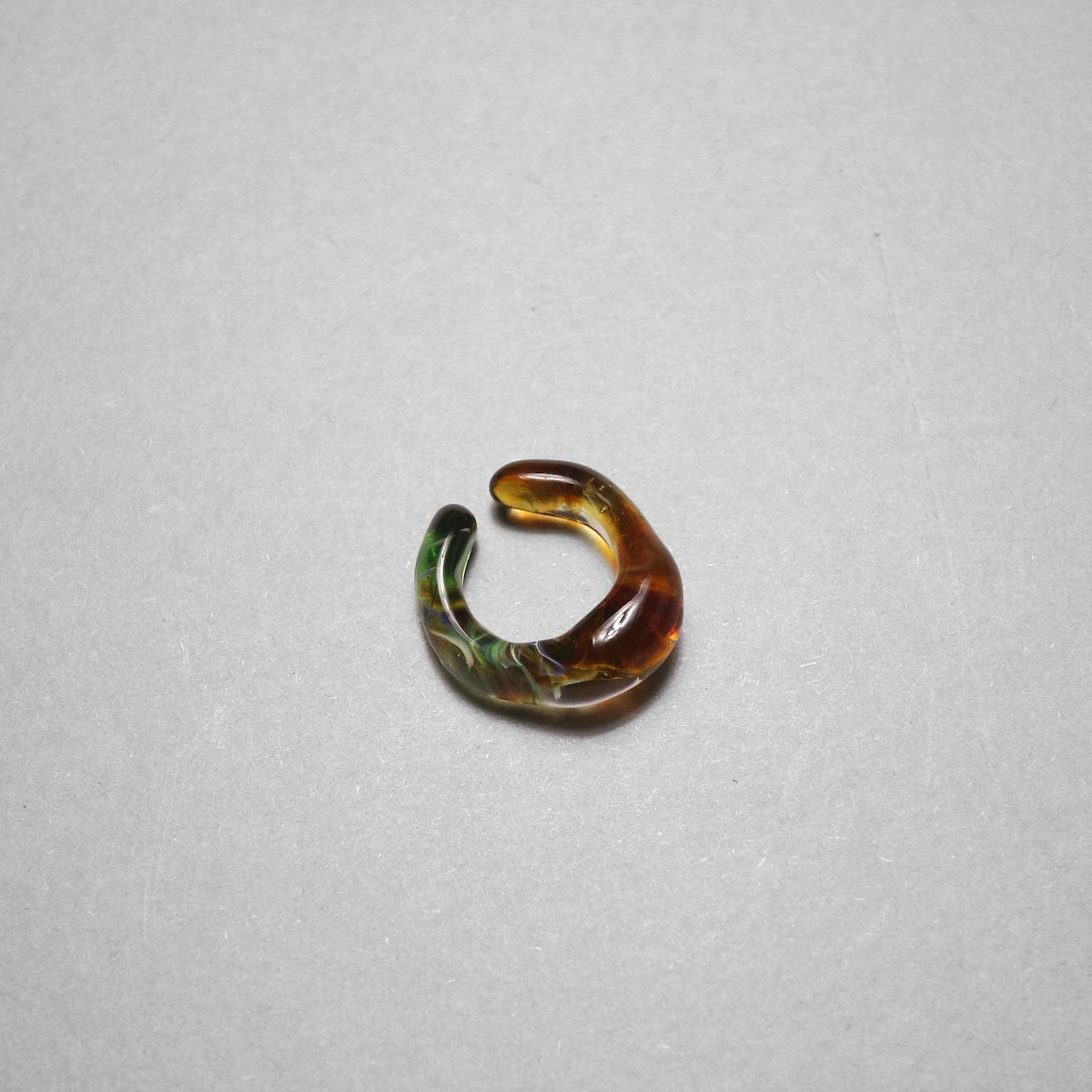 LAN / glass ear cuff & ring marble (D) ②