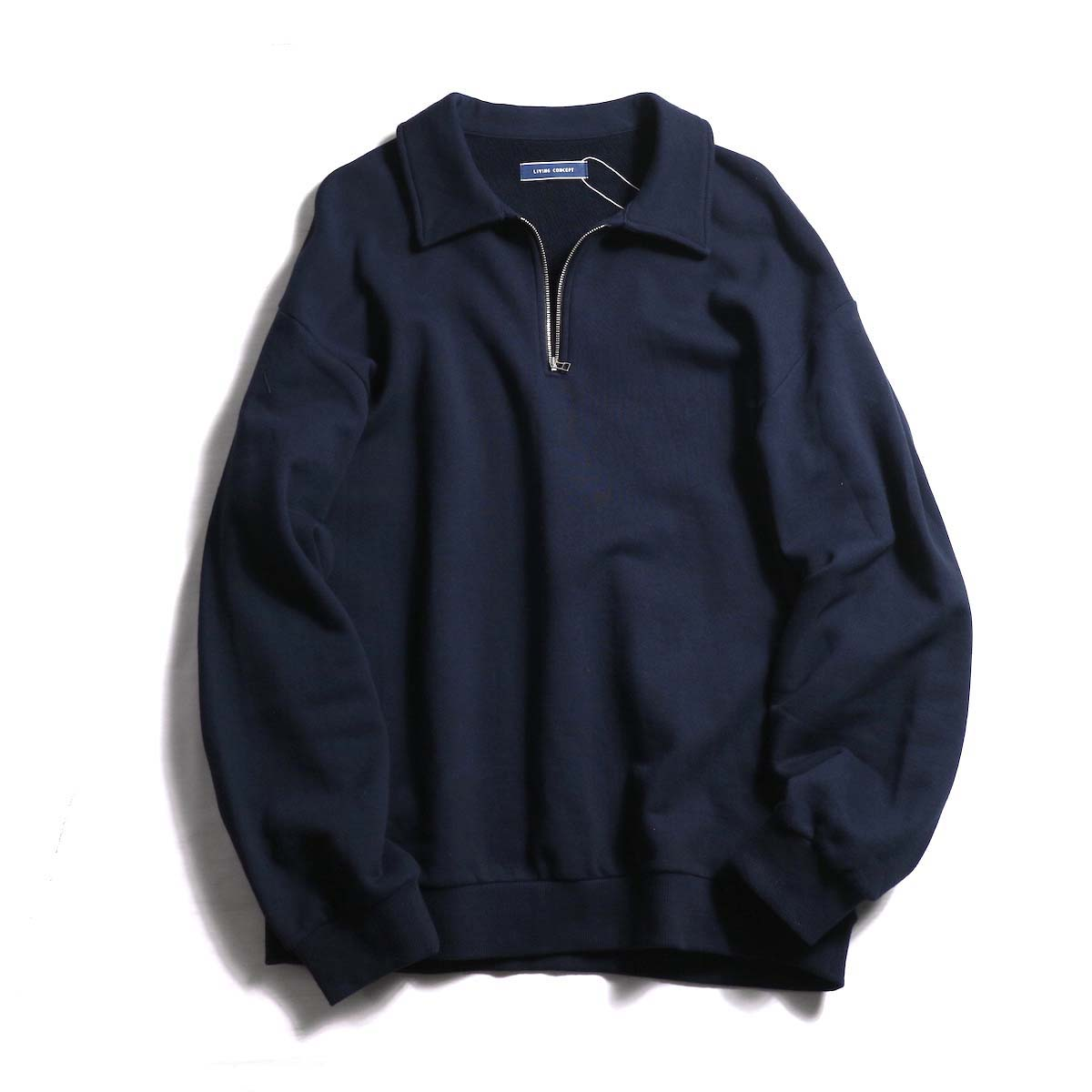 Living Concept / HALF ZIP SWEAT -Navy