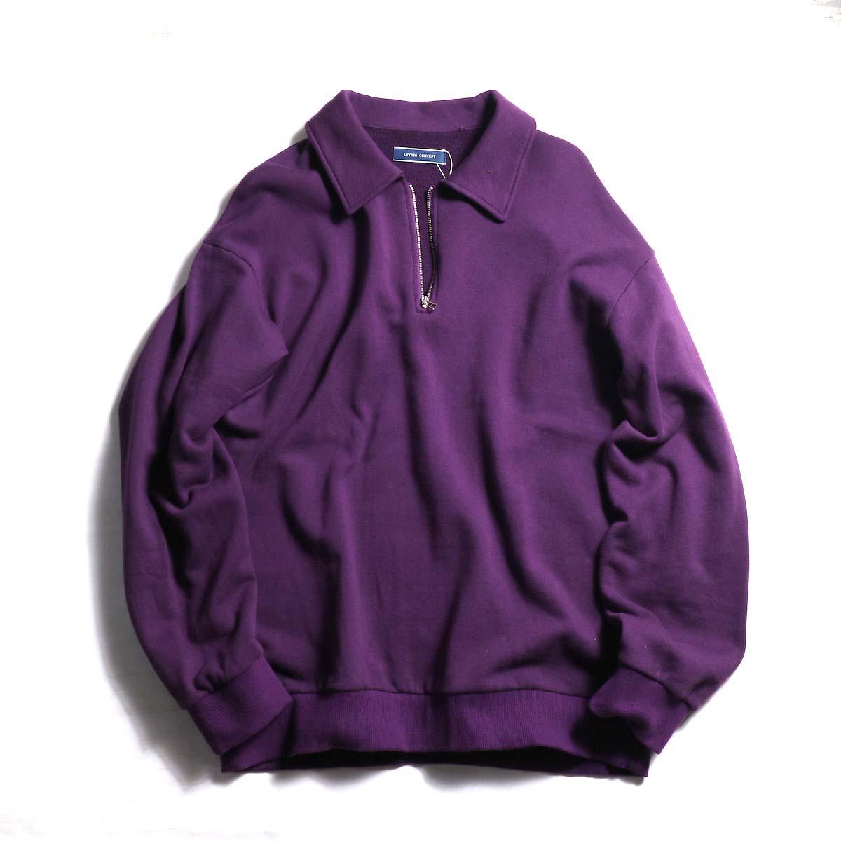 Living Concept / HALF ZIP SWEAT -Purple