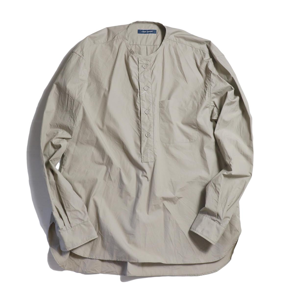 LIVING CONCEPT / BAND COLLAR SHIRT -BEIGE
