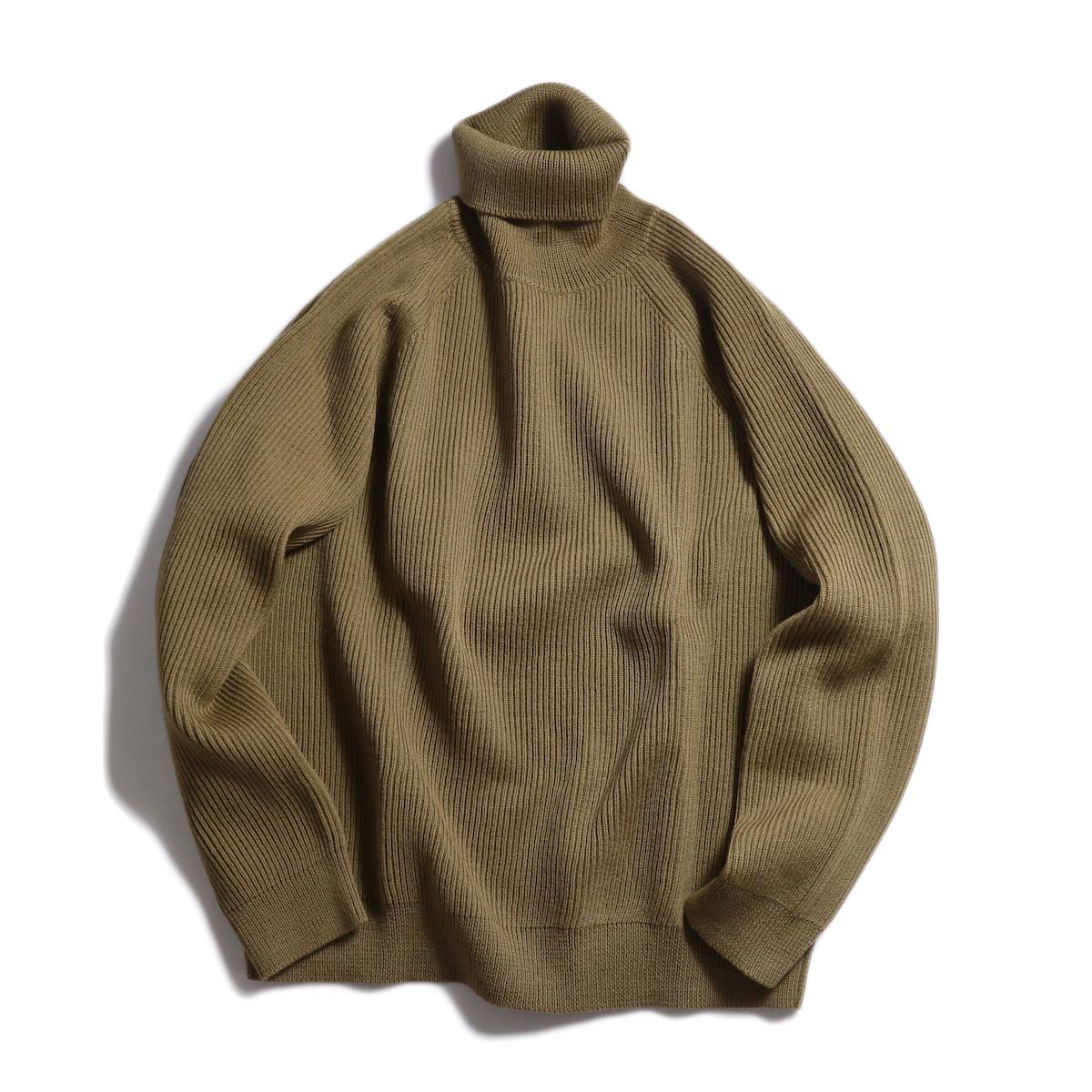 Living Concept / LOW GAUZE TURTLENECK KNIT -BEIGE