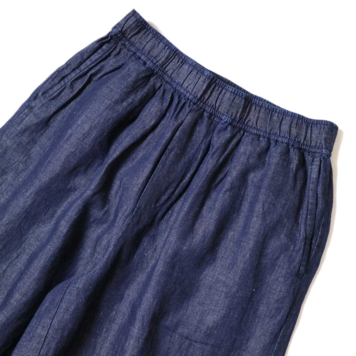 maison de soil / COTTON LINEN EASY WIDE PANTS (Navy) ウエスト