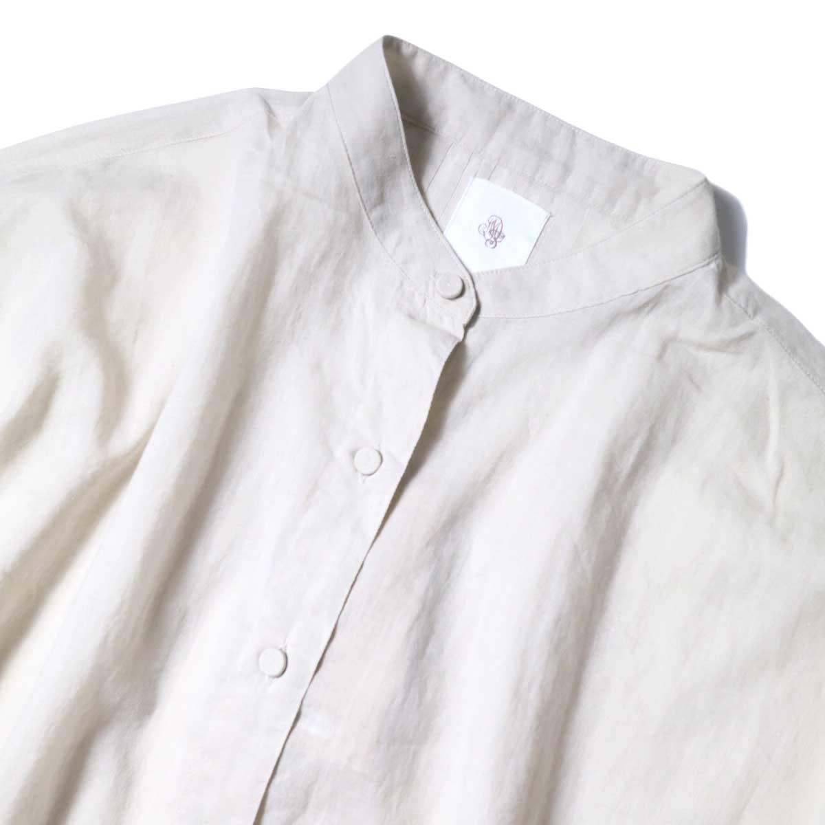 maison de soil / KHADI BANDED COLLAR BACK PINTUCK SHIRT (Milk Grey) 襟